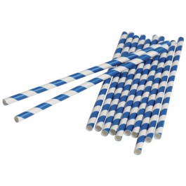 Blue Stripped Paper Straws (Dozen)