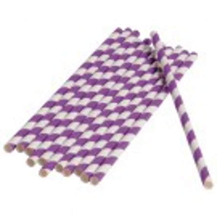 Purple Stripped Paper Straws (Dozen)