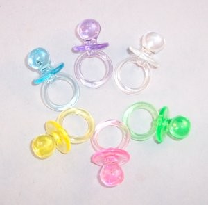 "1-1/4"" Plastic Pacifiers (Crystal) PINK AND BLUE ONLY"